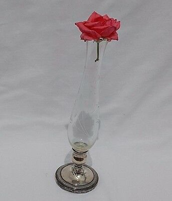"""Beautifully Etched Glass Bud Vase w/Sterling Silver Weighted Base 11.5"""" Fisher"""