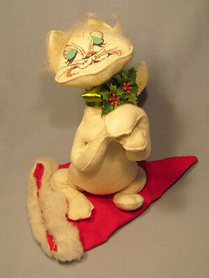 """Annalee Vintage 1967 12"""" White Sneaky Cat with Santa Hat Doll - Cute and Rare!"""