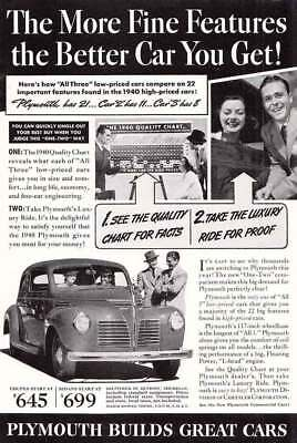 1940 Plymouth: Fine Features (8855) Print Ad