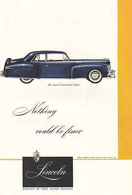 1947 Lincoln Continental Coupe: Northing Could be Finer (4333) Print Ad
