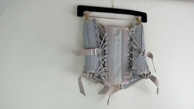 Vintage medical lace tie boned grey waist corset girdle