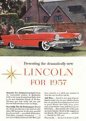 1957 Lincoln: Red, Dramatic New Styling (8916) Print Ad