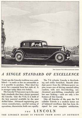 1932 Lincoln Eight: Five Passenger Coupe, Single Standard (4454) Print Ad