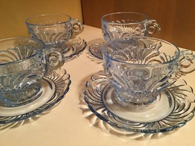 Vintage Cambridge MoonLight Blue Caprice Cup Saucer Coffee 4 sets LOT sparkly