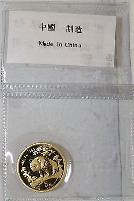 1997 China 1/20 oz gold panda original packaging
