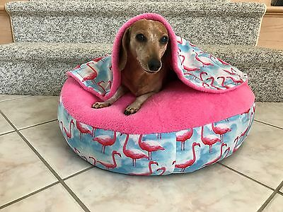 NEW Dachshund Small Dog Bed Snuggle Bed for Burrowing Dogs Fun Pink Flamingo's
