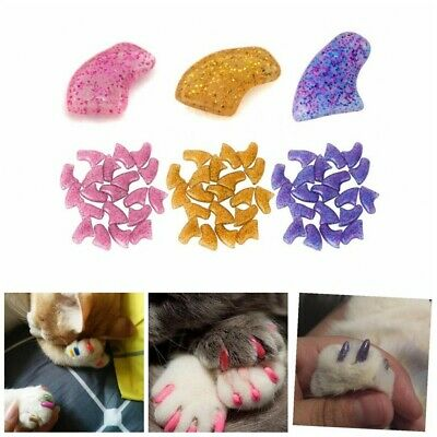 20Pcs Soft Rubber Pet Dog Cat Kitten Paw Claw Control Nail Caps Cover New Simple
