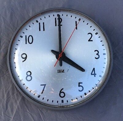 "Vintage IBM 13"" Round Industrial Metal & Glass Bubble Wall School Clock Works!!"