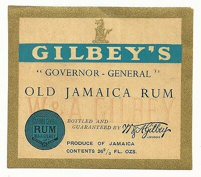 1930's Gilbey's Governor General Old Jamaica Rum Label - London, England