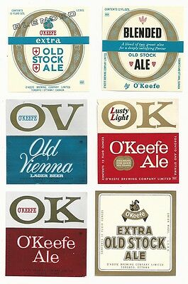 6 Different Vintage O'Keefe's Beer Labels - Toronto, Canada