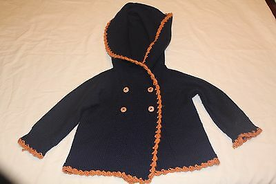 Hand made knitted baby cardigan hoodie size 9-18 months thick warm poncho style