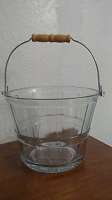 Vintage Anchor Hocking Glass Bushel Basket Pail Ice Bucket Heavy with Wood Bail