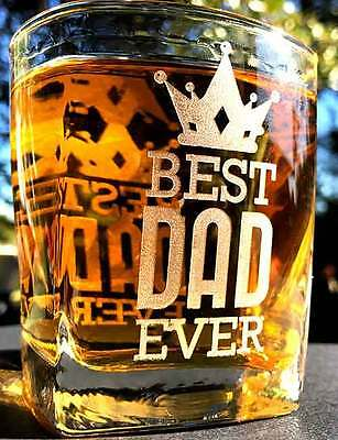 Father's Day Engraved Scotch Whiskey Bourbon Glass Choose Your Design