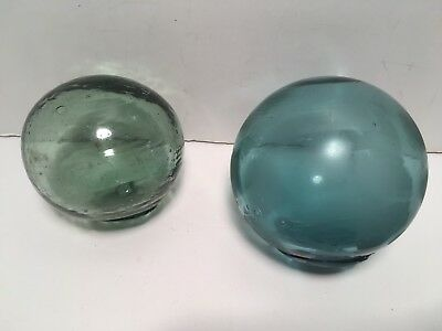 "Vintage Hand Blown Glass Fishing Floats 3"" Marked"