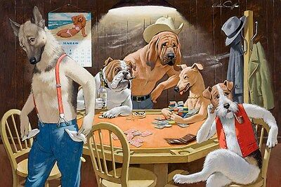 Home Decor Art wall Dogs Playing Poker Oil painting Picture Printed on canvas II