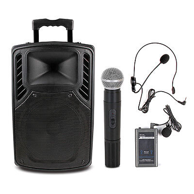 "300W 10"" PA System Active Speaker Bluetooth USB Wireless Mic AUX Guitar in"