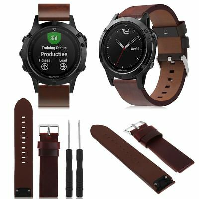NEW Brown Leather Watch Band Wrist Strap For Garmin Fenix 5/Forerunner 935 22mm