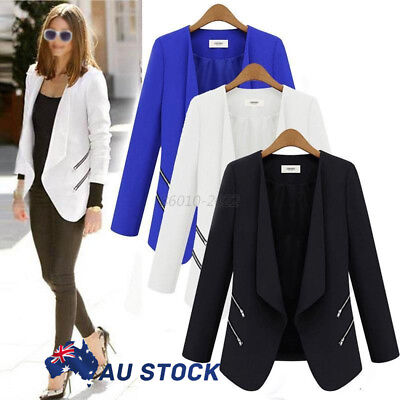 AU Women Casual Suits Blazer Lapel Zipper OL Long Sleeve Jacket Coat Outwear Top