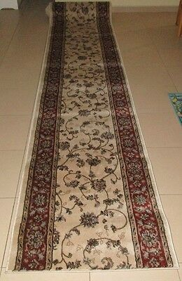 New Extra Long Cream Persian Design Heatset Hallway Runner Floor Rug 80X600Cm