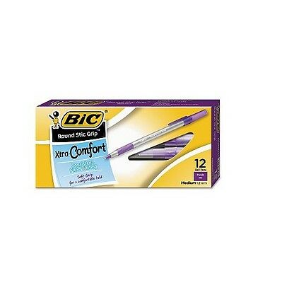 BIC Round Stic Grip Xtra Comfort Ballpoint Pen 1.2mm Medium Purple Ink 12 ct.