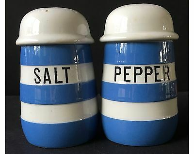 Vintage T G Green Cornish Kitchen Ware Blue Striped Range Salt & Pepper Shakers