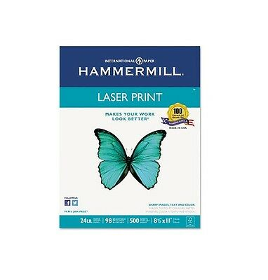 "Hammermill Laser Print Paper 24lb 98 Bright 8-1/2 x 11"" Ream White Super smooth"