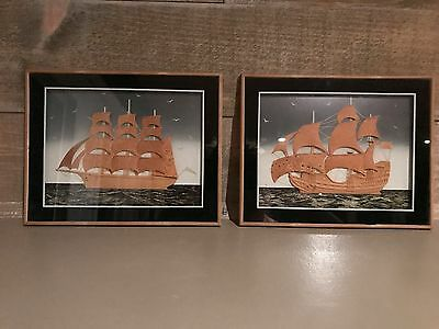 Framed Cork Ship Unique Vintage Set of Two