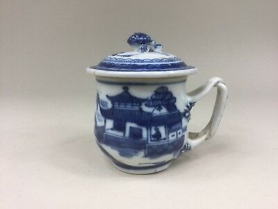18th C. Chinese Blue and White Chocolate / Custard Cup - Strap Handles & Cover