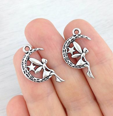 Bulk Fairy Crescent Moon Charms 5 10 20 or 50pcs Magical Wicca Faye Star CH313