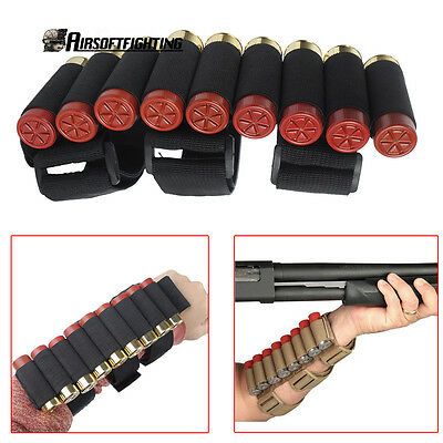 Tactical Shooter Forearm Shotgun 10 Shell Pouch 12GA Ammo Cartridge Stock Holder