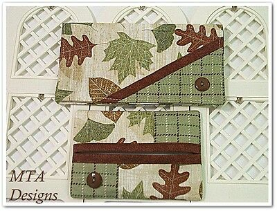 LOG CABIN LEAVES~Checkbook Cover & Purse Size Tissue Holder~Handmade Accessories