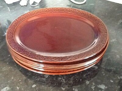 DENMEAD POTTERY - 7 x LARGE OVAL STEAK PLATES, GLOSS BROWN