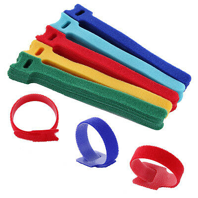 50 Reusable Nylon Strap Hook and Loop Cable Cord Ties Tidy Organiser Adjustable