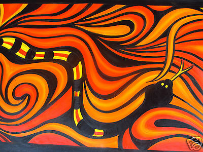 Large 210cm Aboriginal Art Painting Snake Canvas decor  By Jane