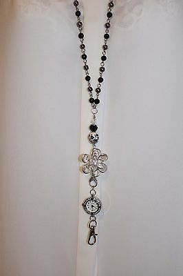 Crystal Flower With Black and Silver Beaded Lanyard Necklace ID Badge with Watch