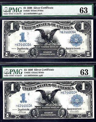 "2 Consecutive Fr 235 1899 $1 Silver Certificate ""Black Eagle"" PMG 63 Choice UNC"