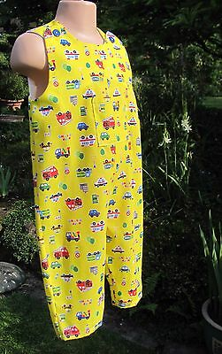 Boys Adjustable Dungarees, Yellow, Vehicles, Age 12-18 months, New, Handmade