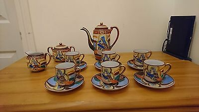 Genuine Samurai China Coffee Set - 1920s - Hand painted- 539405