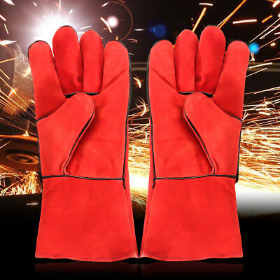 HEAVY DUTY Wood Burner Welding Heat Resistant Leather Gloves Stoves Fire Red