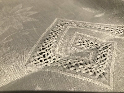 Vintage Damask Table Centre,embroidery,drawnwork And Filet Edge.