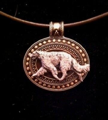 Borzoi/Russian Wolfhound  Dog Brass Medallion~ leather cord~necklace~dog lovers