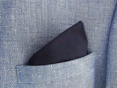 Blue Pocket Square Handkerchief Cotton  Navy Blue