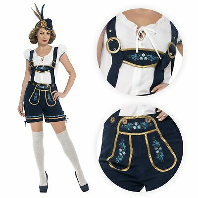 Ladies Traditional Deluxe Oktoberfest Bavarian Mini Dirndl Shorts Lederhosen Top