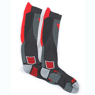 Dainese D-Core Black / Red Motorcycle Motorbike Unisex High Socks | All Sizes
