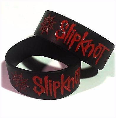 """Slipknot Wristbands 1"""" Wide m/ UK STOCK Silicone FAST Shipping Metal!"""