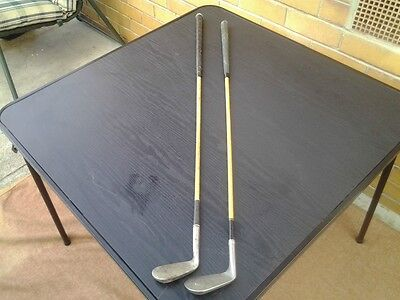 2 x Vintage Hickory Golf Clubs, 5 &8 Irons,gc,
