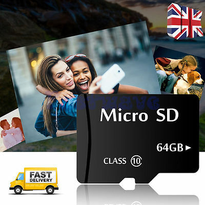 64GB Class 10 Micro SD Card With Free Adapter TF Flash Storage Memory UK