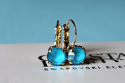 Gold Plated Azure Blue Leverback Earrings made with Swarovski Crystal Element