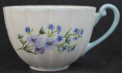 Vintage Shelley English Bone China Blue Rock Fluted Porcelain Flat Teacup