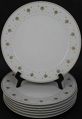 VTG 7 Pc Block Chateau Empire Gold White Fleur De Lis Porcelain Dinner Plate Set